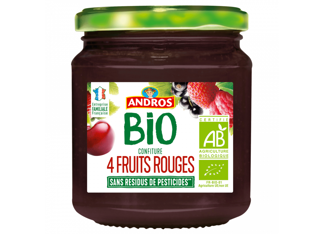 ANDROS Confiture aux 4 fruits rouges BIO 355g