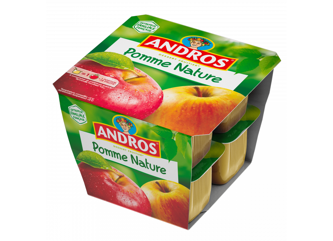 ANDROS Dessert Fruitier® avec Cavalier Pomme Nature Andros 8 x 100g